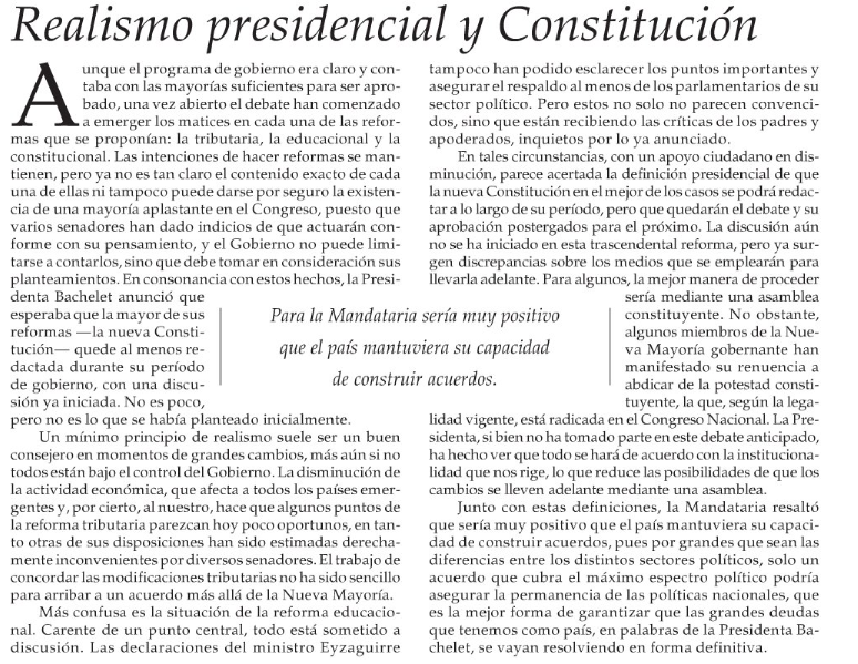 "Editorial El Mercurio. Martes 8 de julio: ""Realismo"""